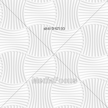 Paper White 3D Geometric Background. Seamless Pattern With Realistic Shadow And Cut Out Of Paper Effect.White Paper 3D Five Striped Wavy Pin Will Rectangles Stock Photo