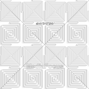 Paper White 3D Geometric Background. Seamless Pattern With Realistic Shadow And Cut Out Of Paper Effect.White Paper 3D Alternating Spiral Connecting Squares Stock Photo