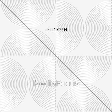 Paper White 3D Geometric Background. Seamless Pattern With Realistic Shadow And Cut Out Of Paper Effect.White Paper 3D Striped Semi Circles Stock Photo