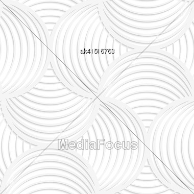 Paper White 3D Geometric Background. Seamless Pattern With Realistic Shadow And Cut Out Of Paper Effect.White Paper 3D Slim Stripes Circle Pin Will Stock Photo