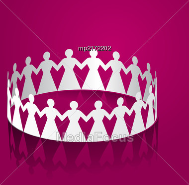 Paper Women Holding Hands In The Shape Of A Circle. Vector Illustration Stock Photo