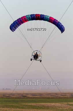 Parachute Glider Ultrta Light In Prairie Canada Stock Photo