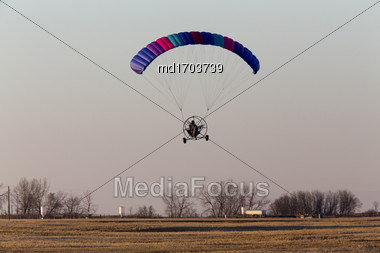 Parachute Glider Ultrta Light In Prairie Canada Stock Photo