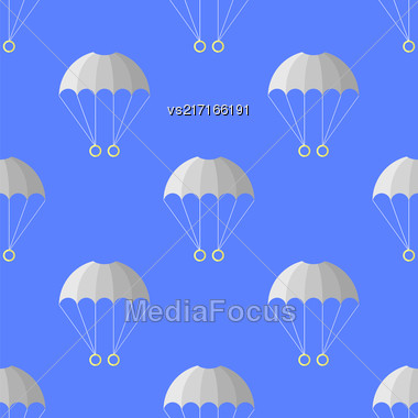 Parachute Seamless Pattern On Blue Sky. Extreme Sport Background Stock Photo
