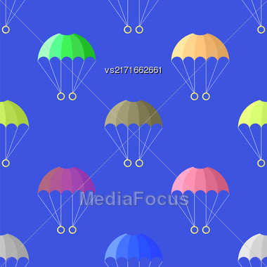 Parachute Seamless Pattern On Blue Sky. Extreme Sport Background Stock Photo