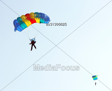 Parachutist Jumper In The Helmet After The Jump Stock Photo
