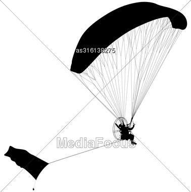 Paragliding , Silhouette Vector Illustration Stock Photo