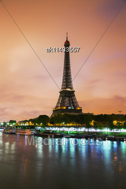 Paris Cityscape With Eiffel Tower Early In The Morning Stock Photo