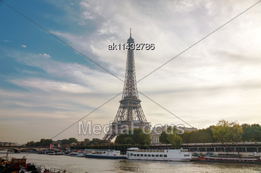 Paris Cityscape With Eiffel Tower In The Morning Stock Photo