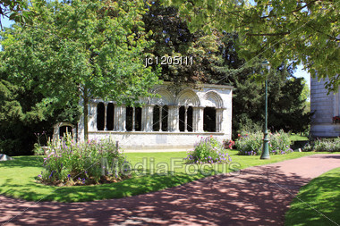 Park And Flower Garden With Its Historical Monuments In The Town Of Montargis In France Stock Photo