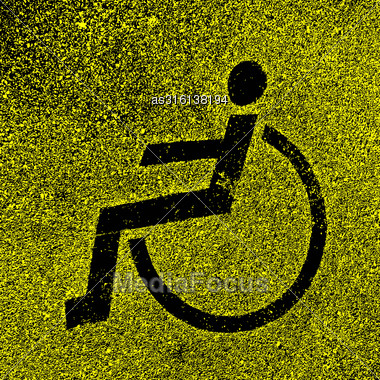 Parking Places With Disabled Signs On Asphalt. Vector Illustration Stock Photo