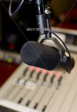 Part Of A Mixing Panel In A Radio Studio Stock Photo