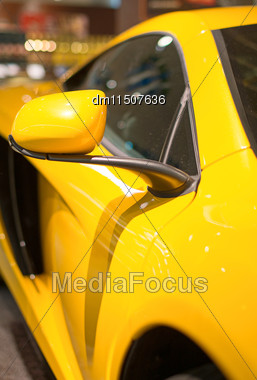 Part Of Yellow Sports Car Model Stock Photo
