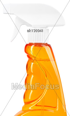 Part Of Orange Sprayer For Spraying Water On Houseplants. Isolated On White Background. Close-up. Studio Photography Stock Photo