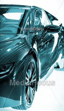 Part Of Sports Car Model On White Stock Photo
