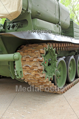 Part Of The Undercarriage Of Tracked Military Equipment, Close-up Stock Photo