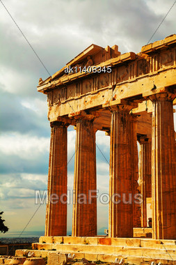 Parthenon Close Up At Acropolis In Athens, Greece Stock Photo