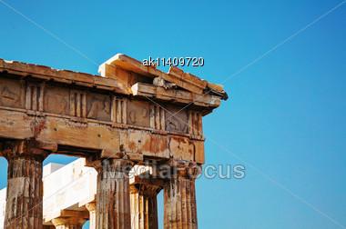 Parthenon Close Up At Acropolis In Athens, Greece Stock Photo