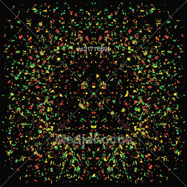Particles Background. Colorful Confetti Isolated On Black Background Stock Photo