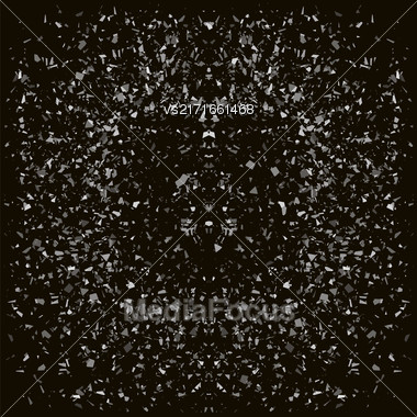 Particles Background. Gray Confetti Isolated On Black Background Stock Photo