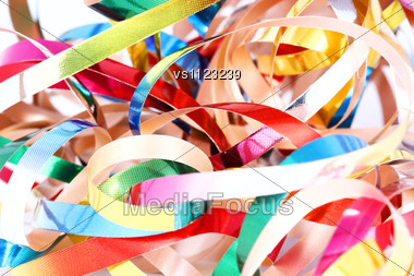 Party Streamers Isolated On White Background. Close Up Stock Photo