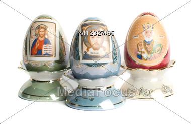 Paschal Eggs With Saint Icons Isolated On A White Stock Photo