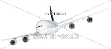 Passenger Airliner Banking Right, Model Airplane Stock Photo