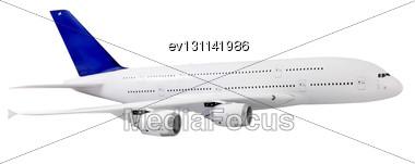 Passenger Airliner Flying, Model Airplane Stock Photo