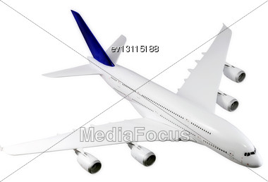 Passenger Airliner Flying, Top View, Model Airplane Stock Photo