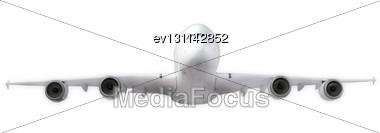 Passenger Airliner Flying Towards Camera, Model Airplane Stock Photo