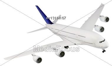Passenger Airliner Landing, Model Airplane Stock Photo
