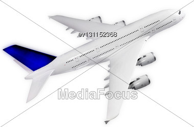Passenger Airliner, Top View , Model Airplane Stock Photo