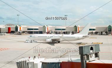 Passenger Plane Maintenance In Airport Before Flight Stock Photo