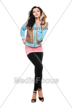 Passionate Young Brunette In A Black Leggings. Stock Photo