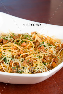 Pasta With Meat And Greens Closeup Tasty Dish Stock Photo