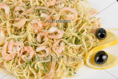 Pasta With Shrimps Lemon And Olive - Tasty Dish Stock Photo