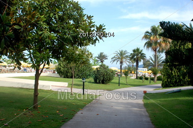 Path Park In Hotel Territory Stock Photo