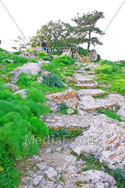 Path To The Top Of Mountain From Kantara Castle In Northern Cyprus.The Origins Of The Castle Go Back To The 10th Century. Stock Photo