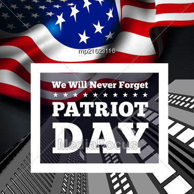 Patriot Day, September 11 Waving USA Flag . Vector Illustration Stock Photo