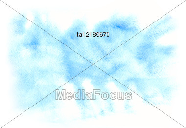 Pattern Of Blue Water Color Painting, Blurred Background Stock Photo