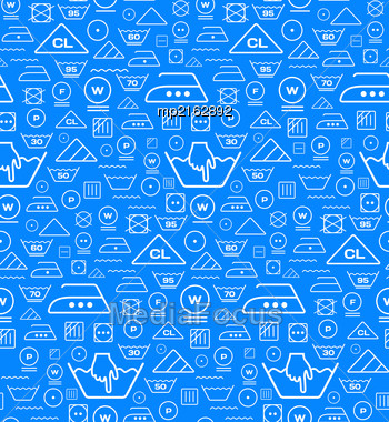 Pattern Created From Laundry Washing Symbols On A Blue Background. Seamless Vector Illustration Stock Photo