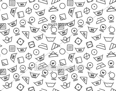 Pattern Created From Laundry Washing Symbols On A White Background. Seamless Vector Illustration Stock Photo