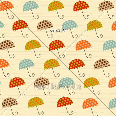 Pattern With Umbrellas, Illustration In Vector Format Stock Photo