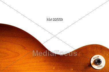 Pattern Wood Of Electric Guitar Honey Burst Color Stock Photo