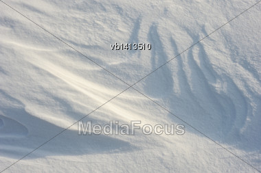 Patterns In The Snow After A Strong Wind Stock Photo