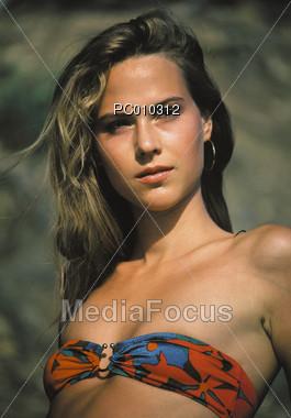 faces swimsuits bikini Stock Photo
