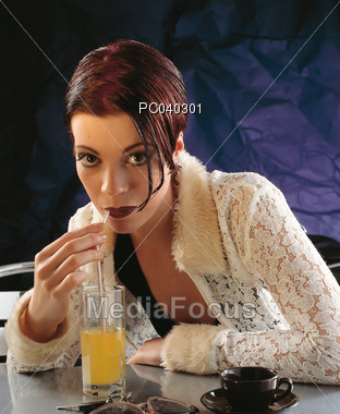 orange drinking hospitality Stock Photo
