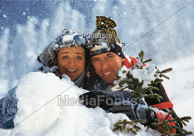 winter vacation mature Stock Photo