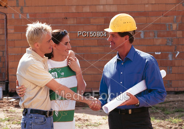 plans reading building Stock Photo