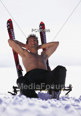 skiing topless relax Stock Photo